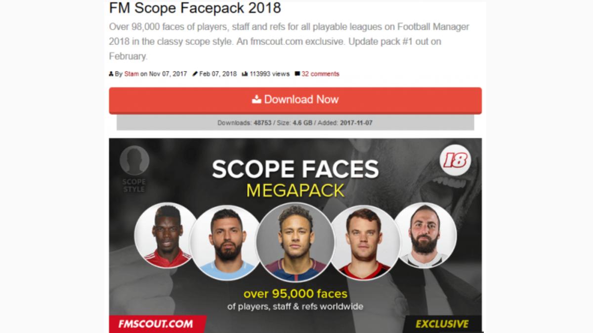 Football Manager のフェイスパック